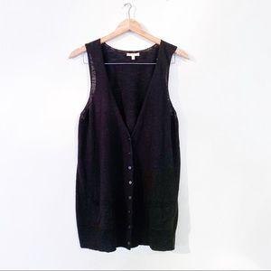 Eileen Fisher Linen Cotton Black Knit Vest L